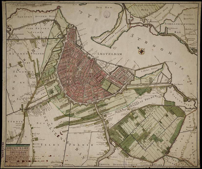 Amsterdam hacia 1770. Fte. Wikimedia